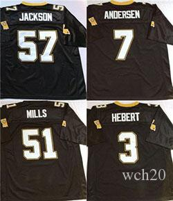 new product 9aaf4 4d107 Saints Throwback Retro #7 Morten Andersen #3 Bobby Hebert #51 Sam Mills #57  Rickey Jackson Mens Stitched Football Jersey