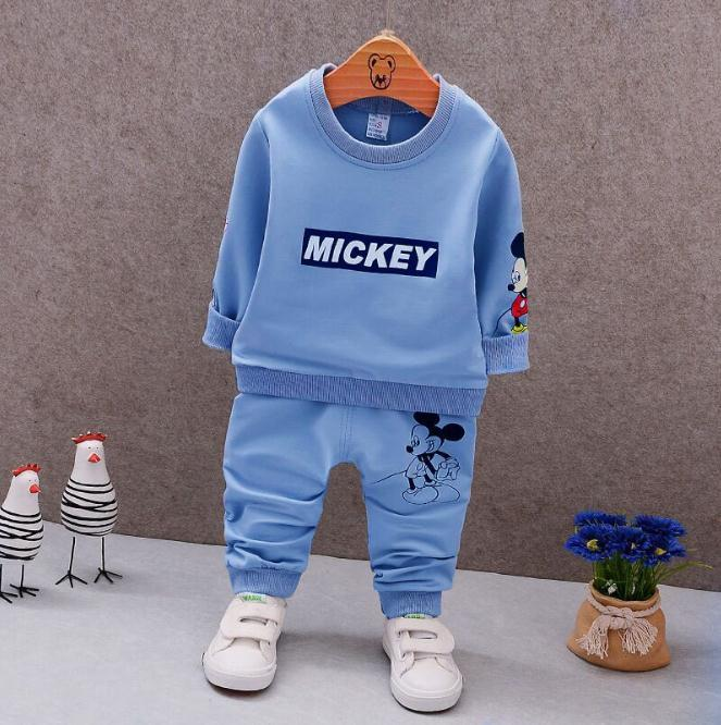 2da2feed82843 Baby boys clothing sets Autumn spring children girls boys cartoon Mickey  sport suit kids sweatshirt+pants tracksuit sets