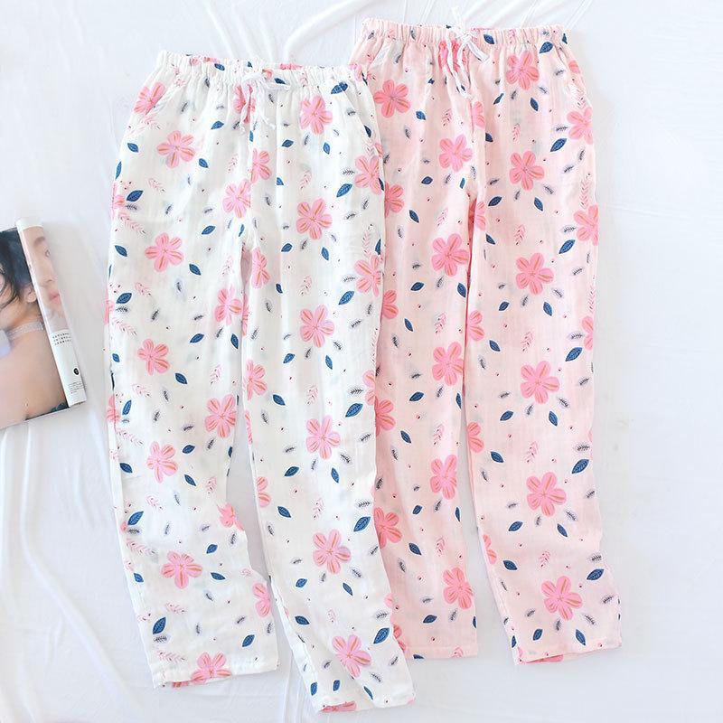 eecde427b14 2019 2019 Plus Size Loose Cotton Gauze Sleep Wear For Women Length Long  Pajama Bottom Floral Lounge Shorts Elastic Waist Pijama Pants From Paluo
