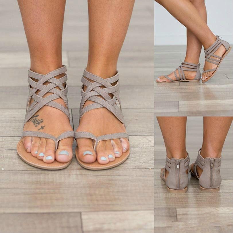 14126e7a54b29 Womens Shoes Flat Heel Rome Sandals 2019 Hot Sale Hollowed & Flip Flops  Breathable Summer Plus Size Female Shoes Black / Grey / Pink Sandals For  Women Knee ...