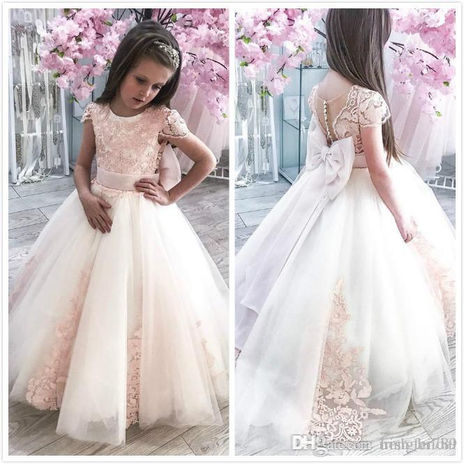 New Tutu Ball Gown Flower Girl Dresses Straps Tulle Princess Handmade Flowers Long Birthday Party Gown Cute Toddler Pageant Dress