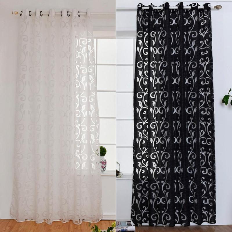 Curtain Window Living Room jacquard Fabrics Luxury semi-blackout Curtains  Panel Living Room Curtains Short Black White Curtain
