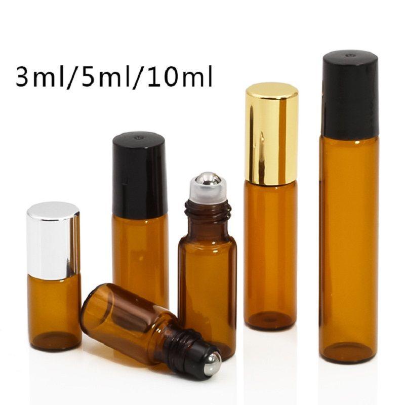 200pcs DHL 3ML 5ML 10ML 미니 롤 유리 병 향수 PERFUME 앰버 브라운 THICK GLASS BOTTLES ESSENTIAL OIL 철강 금속 롤러 볼