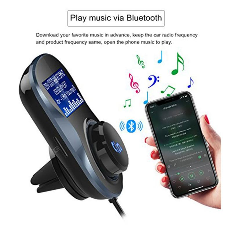 Carro Bluetooth Transmissor FM Carro Áudio Mp3 Player Modulador FM Sem Fio Kit Mãos Livres Bluetooth com Display LCD
