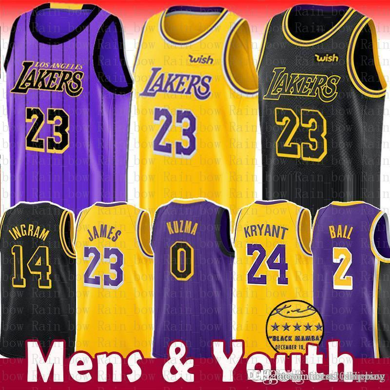 new product a37c6 3d06e 23 LeBron James Lakers Jersey 0 Kyle Kuzma Men Youth 2019 Los Angeles James  Lakers 2 Lonzo Ball 14 Brandon Ingram 24 Kobe Bryant The City