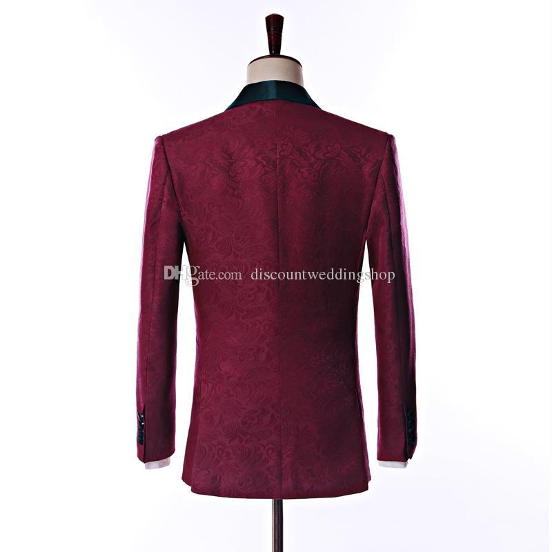 Ultimo design lato sfogo un pulsante bordeaux scialle di paisley bavero dello sposo smoking da sposo uomini abiti da sposo groomsmen giacca + pantaloni + cravatta K18