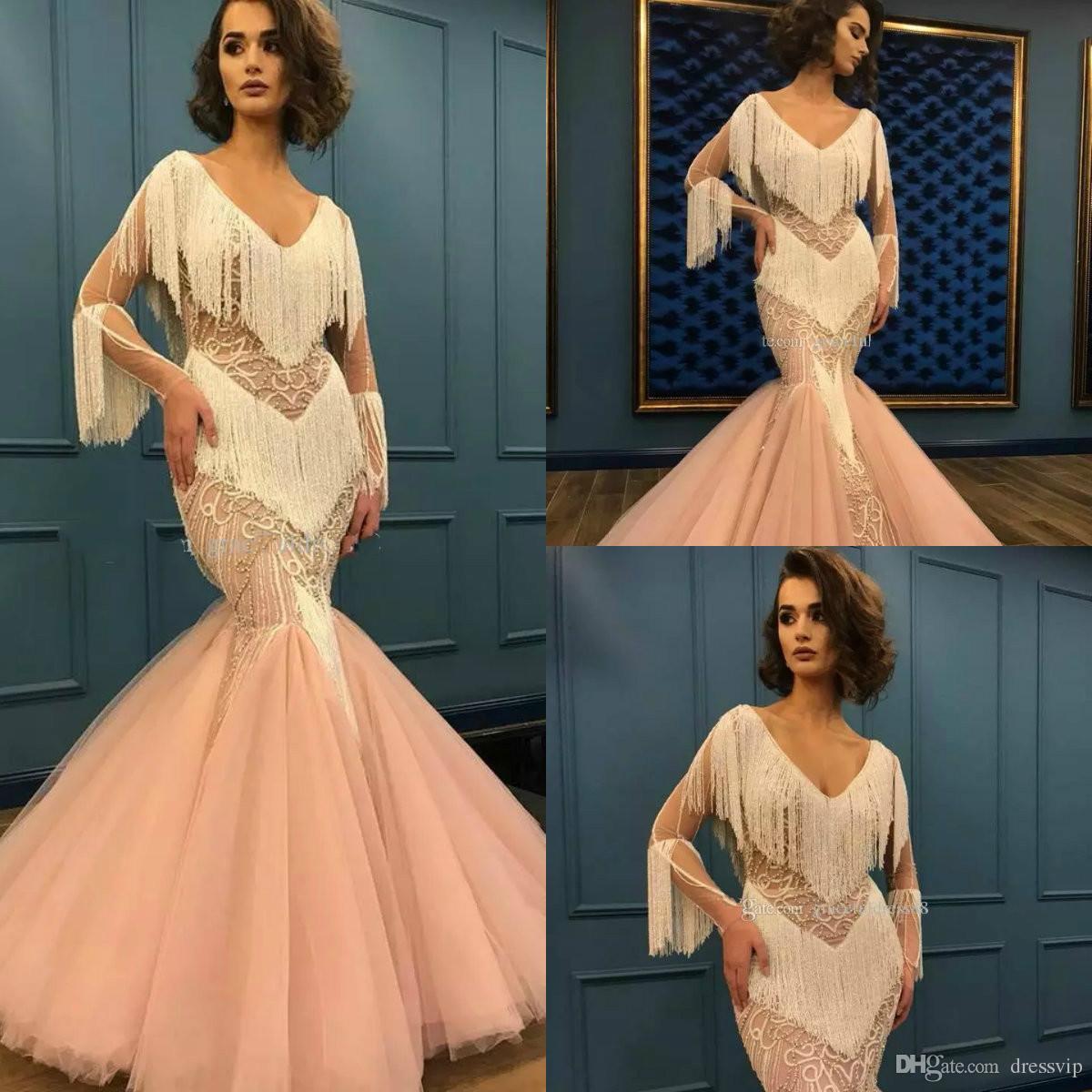 9db9e43c8cc7a Mermaid Prom Dresses Lace V Neck Beaded Tassel Floor Length Long Sleeve Elegant  Evening Dress Custom Made Plus Size Formal Party Gowns Prom Dresses  Designer ...