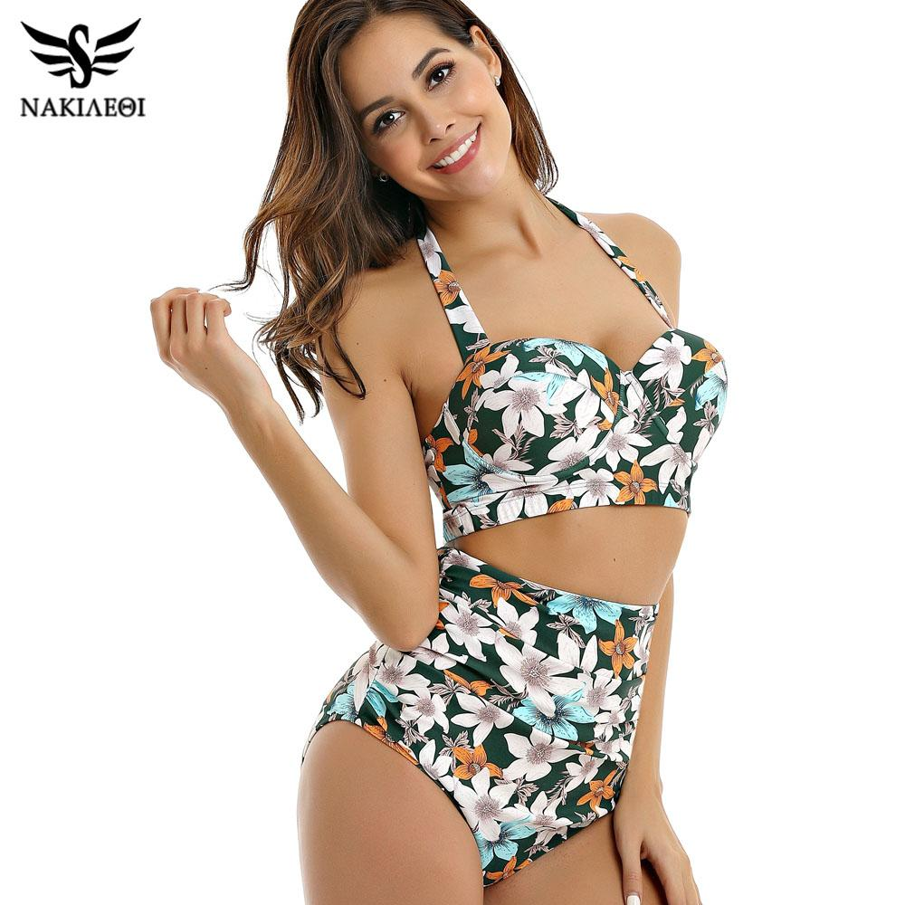 004ecf526d2 2019 NAKIAEOI Bikinis Women Swimsuit High Waist Swimwear 2019 New Sexy Plus  Size Bathing Suit Halter Push Up Brazilian Beachwear 2XL From Duriang, ...