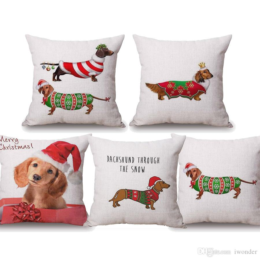 Christmas Festival Dachshund Dog Cushion Covers Merry