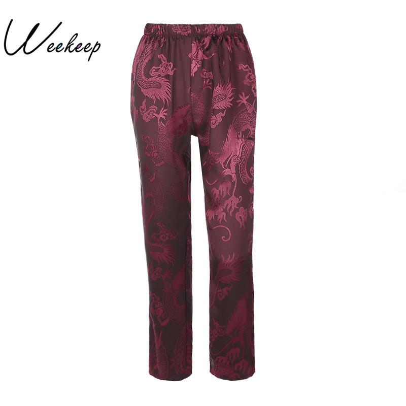 Weekeep 2017 Women Dragon Print Chinese Style Retro Loose Pants Autumn Winter Fashion Pantalon Femme Straight Trousers Bottom Y19070301