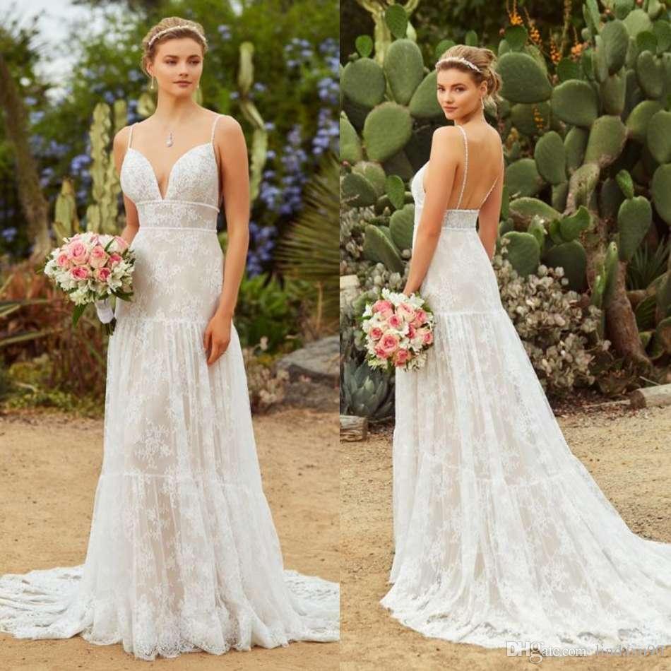 cf92357fb3e Discount Kitty Chen 2019 Bohemian Wedding Dresses Spaghetti Neck Lace  Appliqued Bridal Gowns A Line Boho Beach Wedding Dress Vestidos De Novia A  Line ...