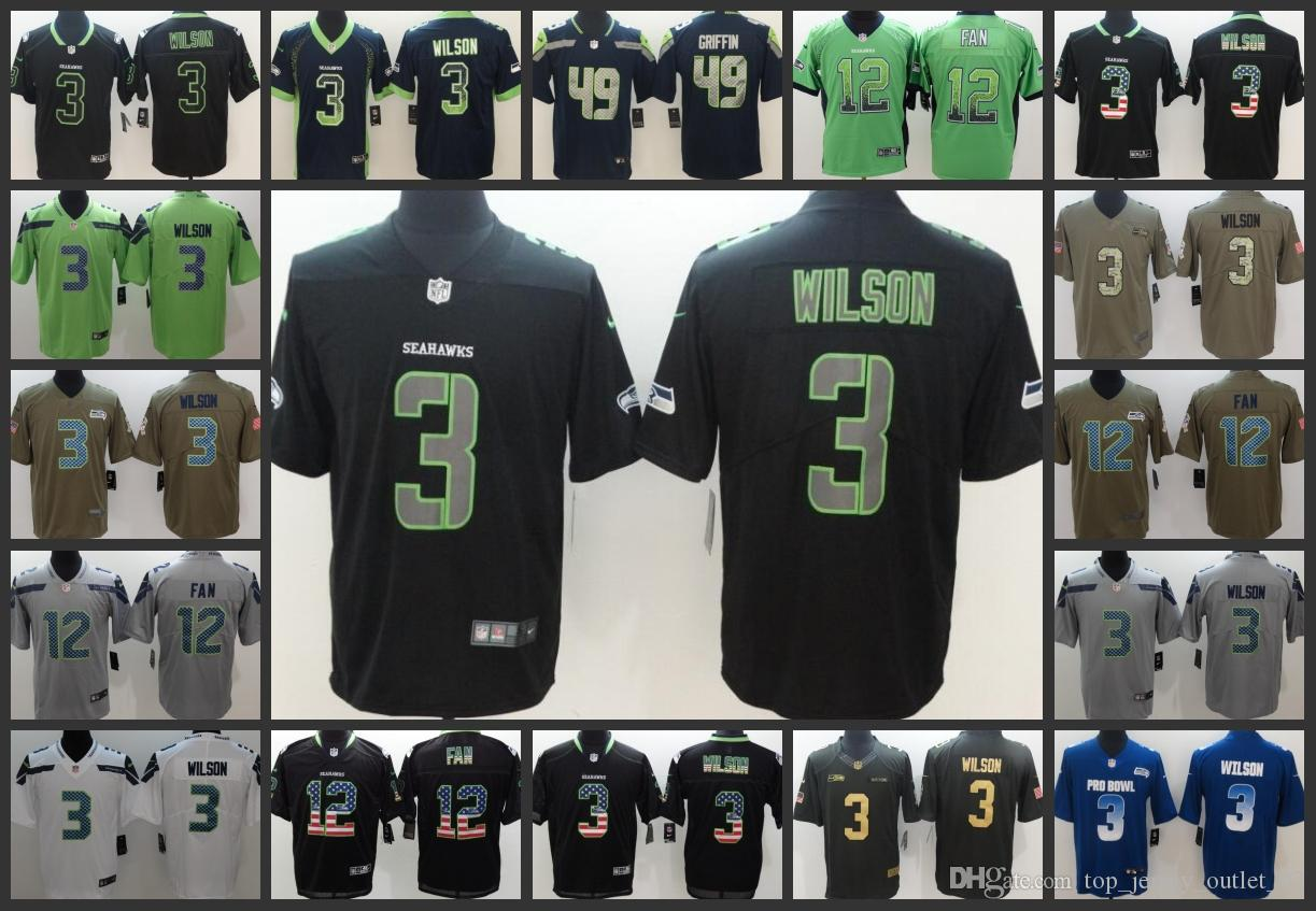 2019 Seattle Seahawks Men Jersey  3 Russell Wilson 12 Th Fan 49 Shaquem  Griffin Women Youth Limited Football Jerseys From Top jersey outlet 02 2a098176e