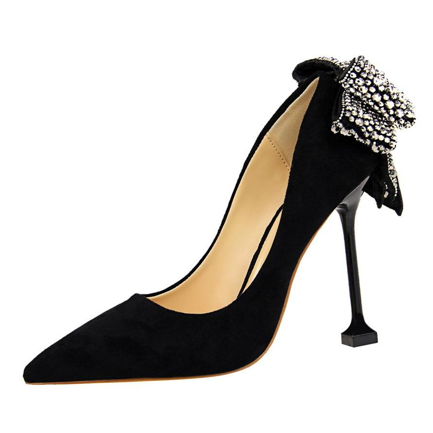 3af7bf5eb69 Stan Shark 2019 Korean women s high heels suede shallow mouth pointed sexy  nightclub was thin after rhinestone bow shoes