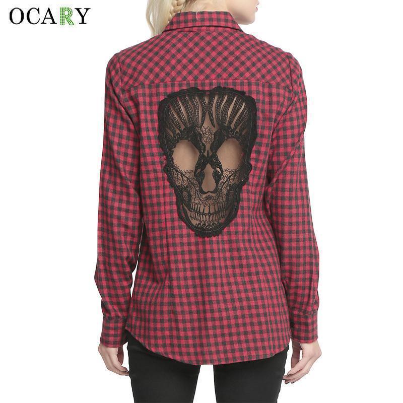 db56c29a7 Cráneo ahueca hacia fuera las mujeres Blusas Camisas de tela escocesa Blusa  de manga larga Primavera Verano Blusas Mujer Haut Ete Plus Tamaño Xxxxl ...