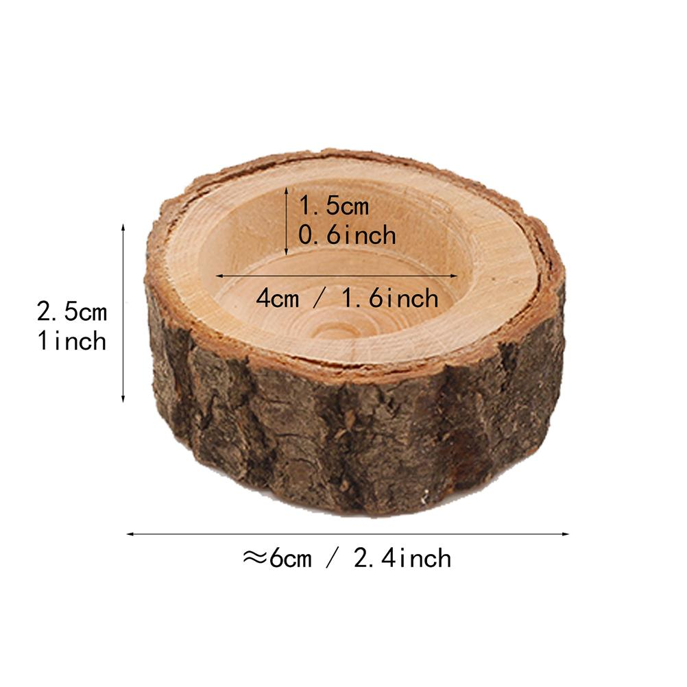 1pc Candle Stand Set Creative Wooden Bark Candlestick Indoor Flower Pot Home Decoration Ornament Small Size free shipping