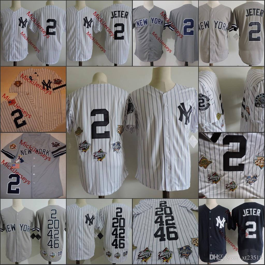 bfa089e5492 2019 Mens  2 Derek Jeter Retirement Patch Jersey Stitched White Grey Derek  Jeter 1996 2001 WS Jerseys S 3XL From Xt23518