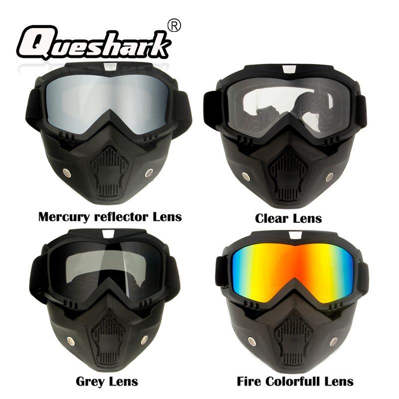 Compre Queshark Ski Snowboard Máscara De Inverno Óculos De Esqui Snowmobile  À Prova De Vento Óculos De Esqui Ciclismo Óculos De Sol Com Filtro De Boca  De ... 5246d21df9