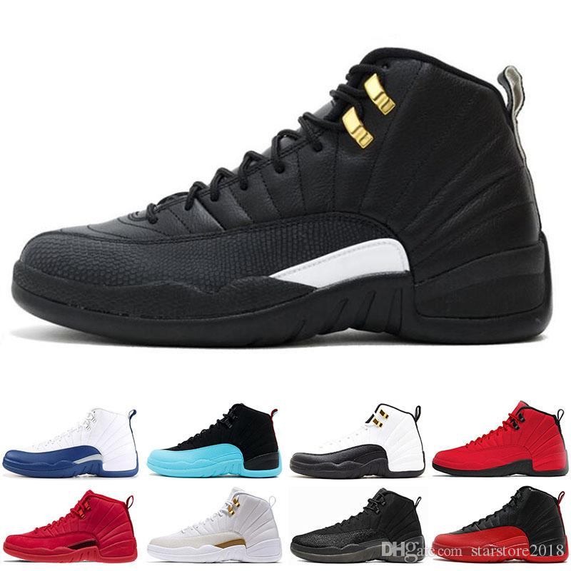 the best attitude f08eb e8510 Popular 12 12s men Basketball Shoes Sneakers black white PLAYOFF THE MASTER  Gym red gamma blue 12s mens sports shoes 7-13