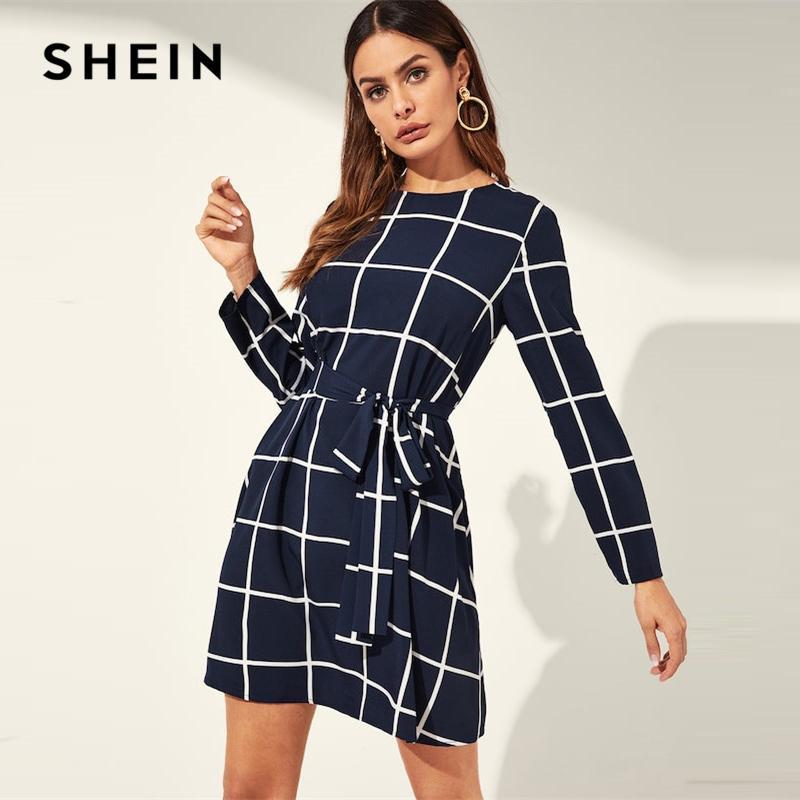 9139b7c4b Compre SHEIN Vestido Escocés De Cuello Redondo A Cuadros Y Ceñido Con  Cinturón De Rejilla Vestido Corto Para Mujer 2019 Primavera Office Lady Una  Línea ...