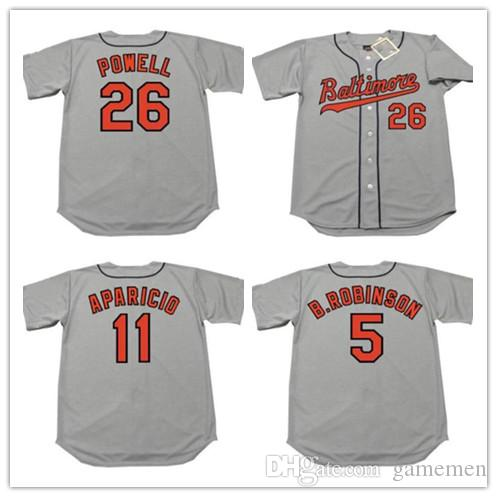 Mens 26 BOOG POWELL 11 LUIS APARICIO 5 BROOKS ROBINSON BALTIMORE 1960 s Mens  Vintga Baseball Stitched Jersey Baseball Jersey Online with  32.85 Piece on  ... b3c1592df