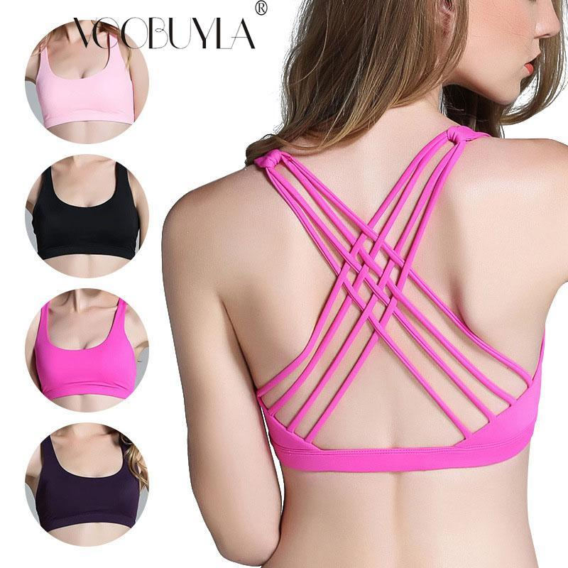 527c2ed3fdce1 Voobuyla 2018 Back Sexy Yoga Bra Women Padded Sports Bra Shockproof Running  Workout Gym Wire Free Push Up Fitness Tops UK 2019 From  Seller sportsoutdoor