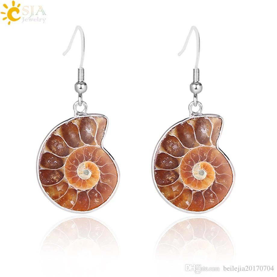 CSJA Women Gift Natural Snail Ammonite Spiral Whorl Conch Shell Fossils Nature Color Animal Pendant Dangle Hook Earring E105