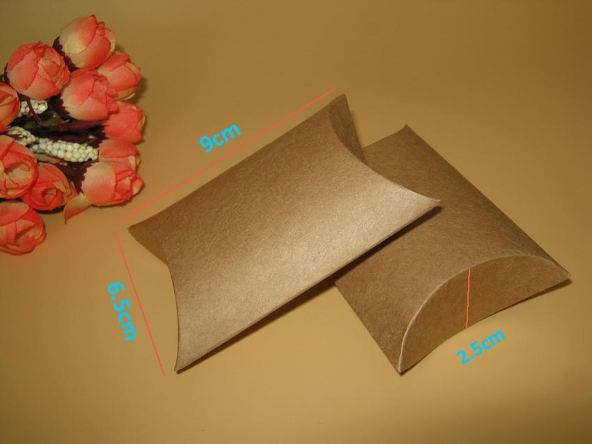 Wholesale-100pcs/lot kraft pillow box 9x6.5x2.4cm Jewelry kraft Paper Gift Packaging/ Ring/Earing boxes wedding favor party candy gift box