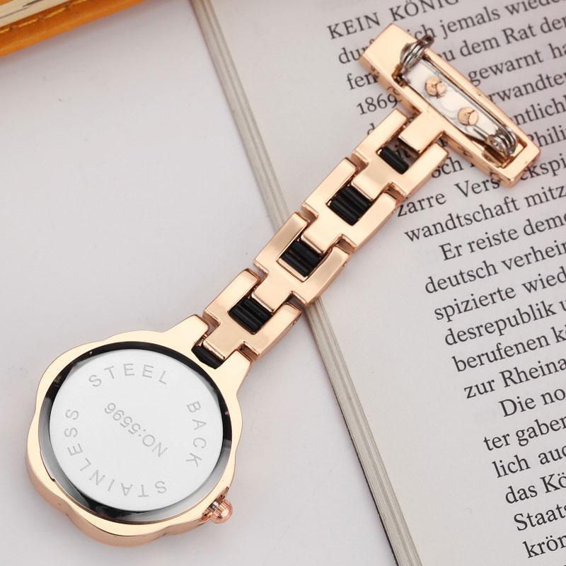 New Fashon Crystal Flower Dial Nurse Watch for Women Brooch Elegant Clip-on Watch Full Steel Analog Quartz Pocket Watches Gifts