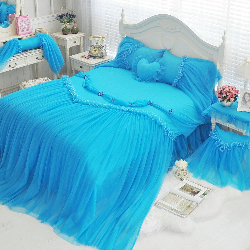 Blue Lace duvet cover princess bedding set girls 4/6pcs ruffles bedspread bed skirts wedding bedclothes cotton queen king size