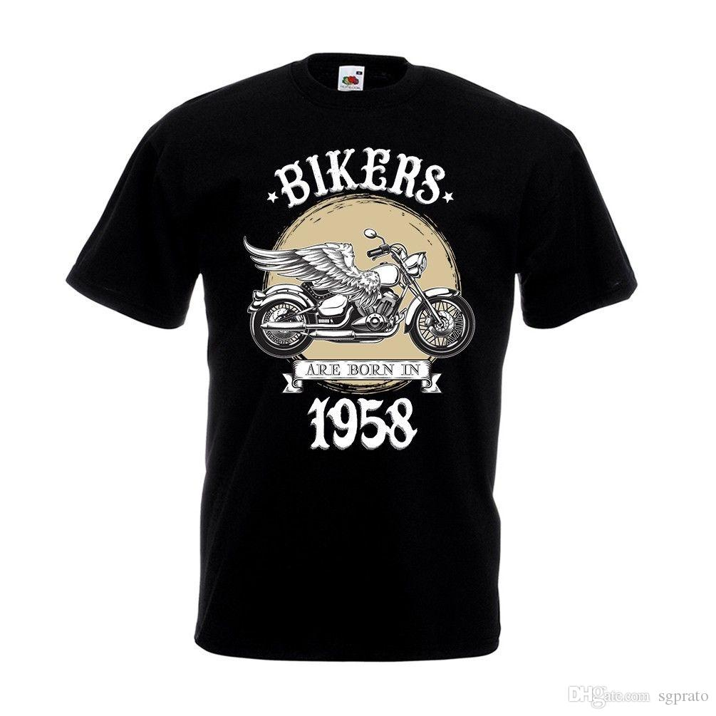 Biker Are Born In 1958 T Shirt Motorbike Motorcycle Dad 60th Birthday Gift Top Printed Shirts Design From Sgprato 1052