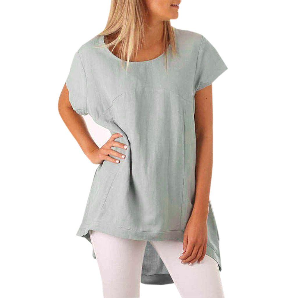 2b9cf2ff64 2019 Female Loose Shirt Women Summer O Neck Short Sleeve Casual ...