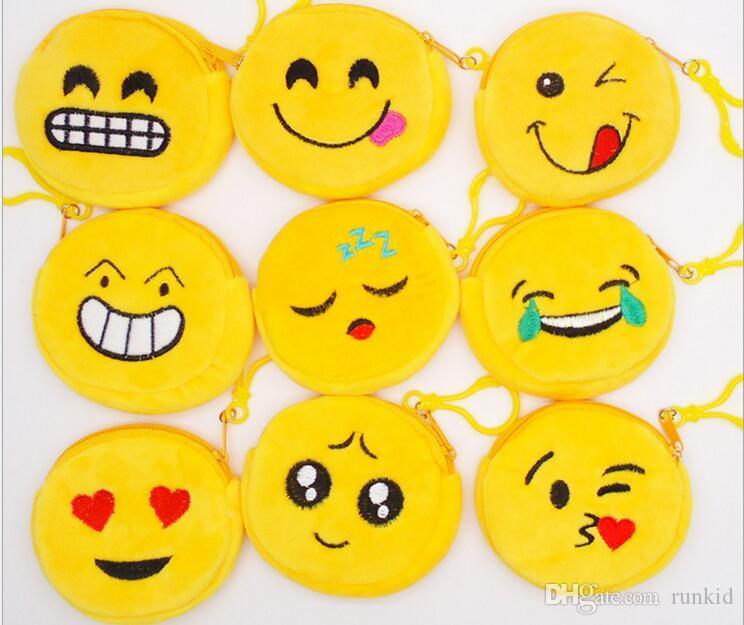 2018 New Hot Face expression Coin Purses cute emoji coin bag plush pendant  High quality free shipping