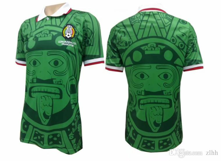 fcb616310 2019 Thai Quality 1998 World Cup Green Retro Mexico Jersey HERNANDEZ G.DOS  SANTOS Blanco 11 Football Shirts Mexico Garcia 10 Soccer Jerseys From Zlhh