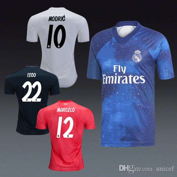newest 3bfb0 b131d Real Madrid 2018/19 EA Sports blue Home away third black red soccer jersey  football shirts Kits Marcelo Modric Toni Kroos Isco Bale Asensio
