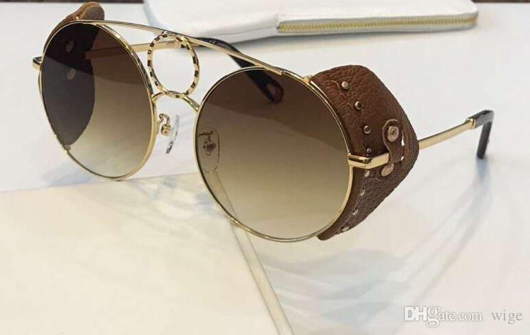 2eb0ed004afd 148SL золотисто-коричневые кожаные / коричневые солнцезащитные очки с  градиентом ...