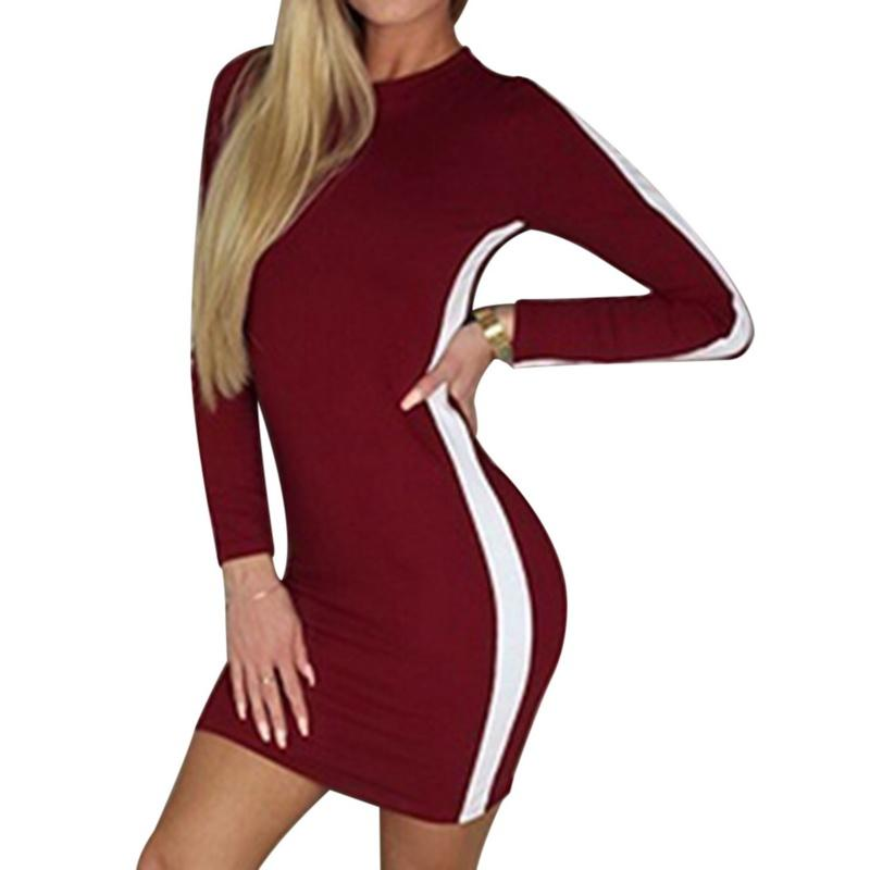 f716f5ea0 Robe Femmes À Manches Longues Min Robe Printemps Automne Casual Slim Stripe  O Cou Mini Robe Moulante Sexy Tight Bodyco Patchwork Robes