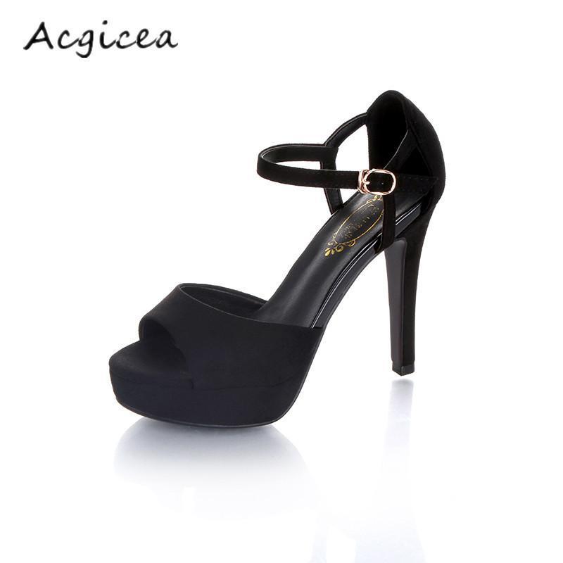 3ec754d06b Compre Zapatos Negros De Tacón Alto Para Mujer Con Sandalias De Plataforma  Impermeable Y Boca De Pez 2019 Nuevo Verano Salvaje Sexy Punta Abierta  Tacones ...