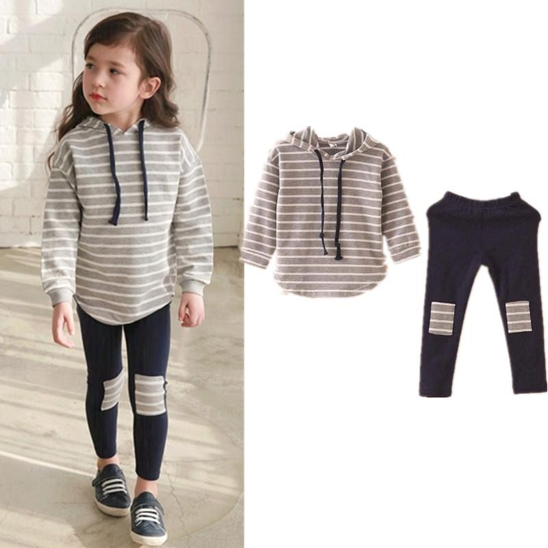 cefd2abf 2019 Classic Striped Baby Girl Clothing Set Spring Retail Hooded Sweatshirts+Leggings  Pants Girls Clothes Sets Casual Kids Suits From Victorys10, ...