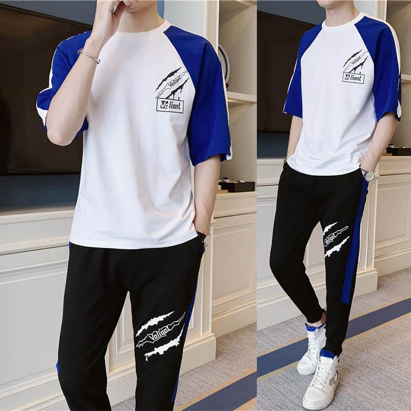 Men's Tracksuits Fashion Casual Sport Suits Breatnable Soft Men Cloth Print Half Sleeve T-shirts & Pants Size S-3XL Wholesale