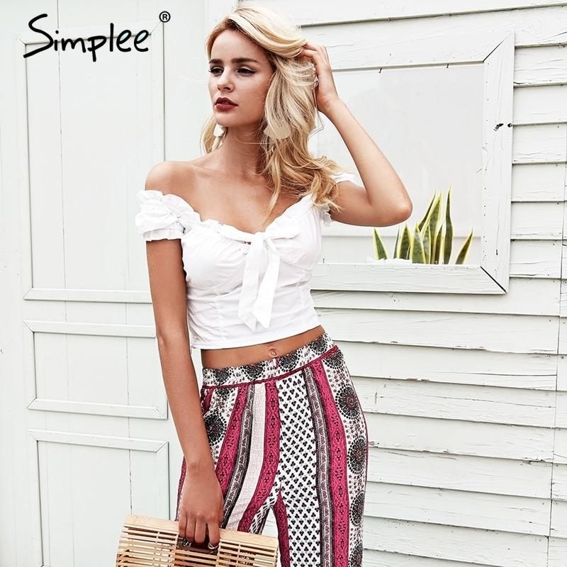112c901ae4 2019 Simplee Off Shoulder Sexy White Crop Top Women Ruffle Bow Slim Bustier  Bralette Top 2018 Summer Beach Cami Tank Tops Tees Y190123 From Xingyan01