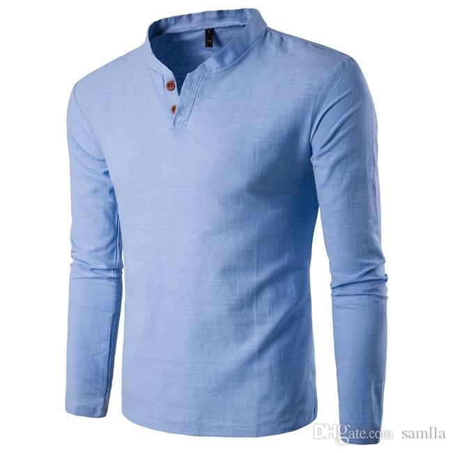 fd3f01eb39967 Acheter T Shirt Boutonné Chemises À Manches Longues Coupe Slim Homme T  Shirt Uni Tee Shirt En Lin De $33.3 Du Samlla   DHgate.Com