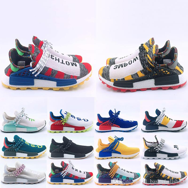 a8b21bbf01810 2019 Top Fashion Human Race Hu Trail Running Shoes Men Women Pharrell  Williams Yellow Noble Ink Core Black Red Sports Trainers Sneakers 36 47  From ...