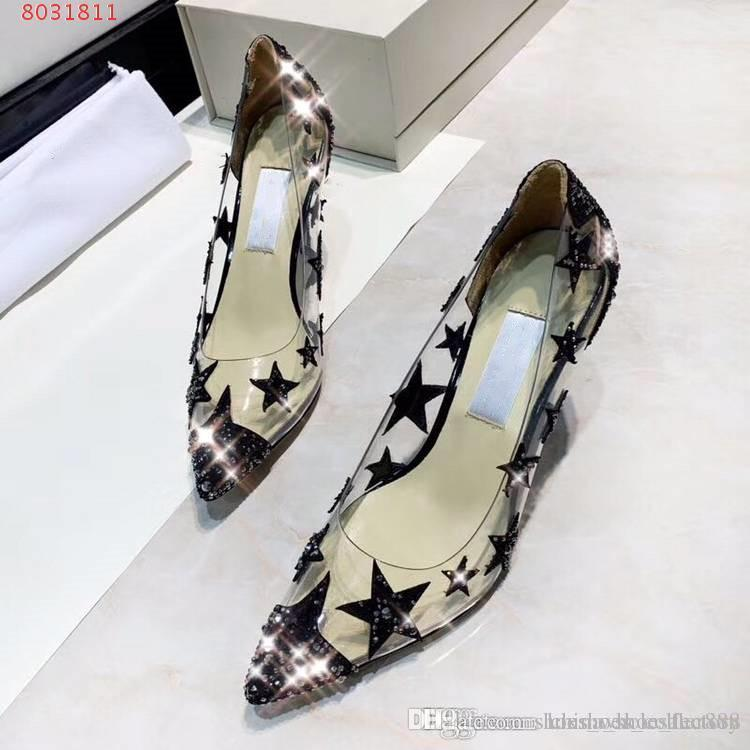 da36b9a9a5 Latest Classic Women High Heels Sandals,Transparent sandals Shoes with  stars , Size 34-40 ,heel-height 9 cm