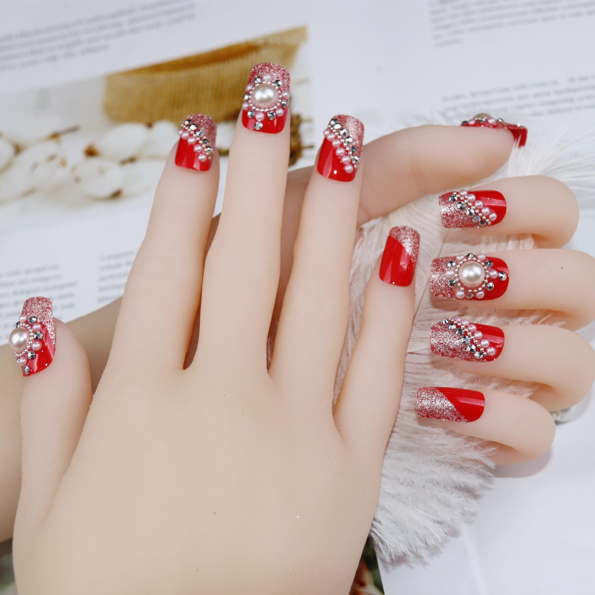 2019 Adhesives, finished nails, bridesmaid, married, dressed in nails, red  bead