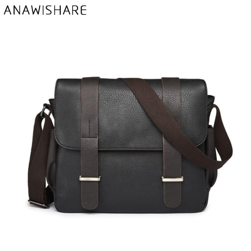messenger ANAWISHARE Messenger Large Leather Crossbody Bags For Men School Shoulder Bag Laptop Bag Leather Handbag Bolsa Feminina