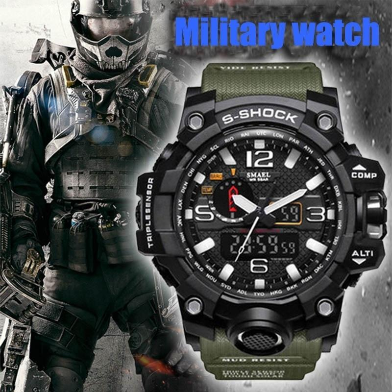SMAEL Brand Fashion Men's Waterproof Sports Shock Analog Quartz Dual Display Watch Style Military Digital Led Watches Relogio Masculino