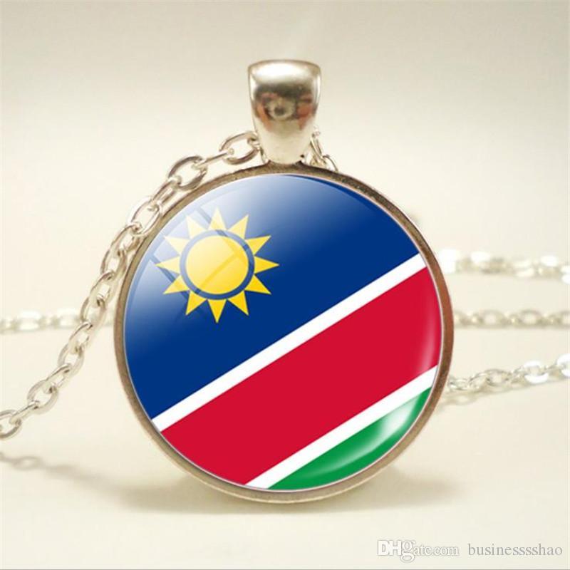 Bohemian Time Gem Glass Cabochon Namibia National Flag World Cup Football  Fan Choker Necklace Women Men Jewellery Simple Long Chain Pendants
