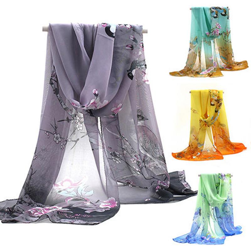 Chiffon Silk Scarf Magpie Printed Scarf Summer Autumn Long Air Conditioning Cape Silk Scarves Shawl 2019 Vintage Harajuku