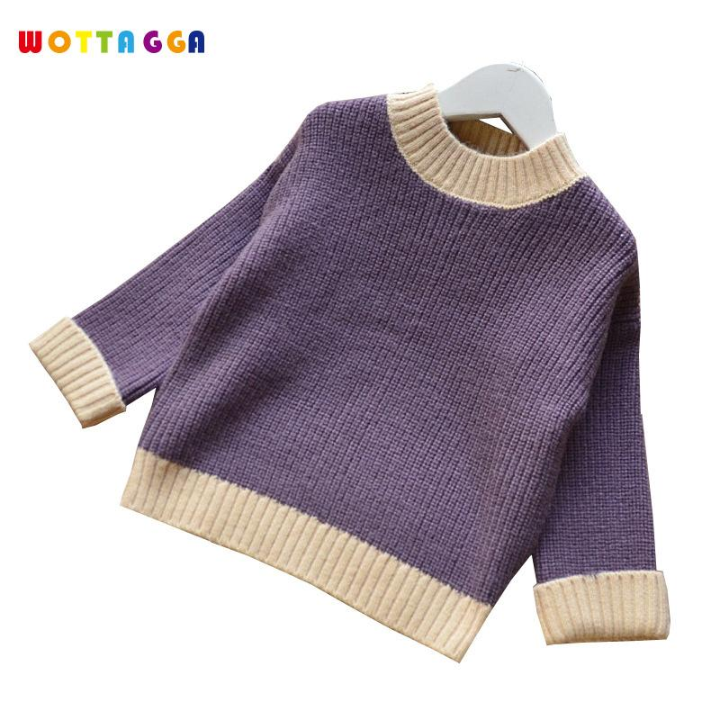 WOTTAGGA 2018 Children Sweaters Winter Casual Turtleneck Knitted Sweaters For Girls Warm Boy Cotton Girls Cardigan Clot