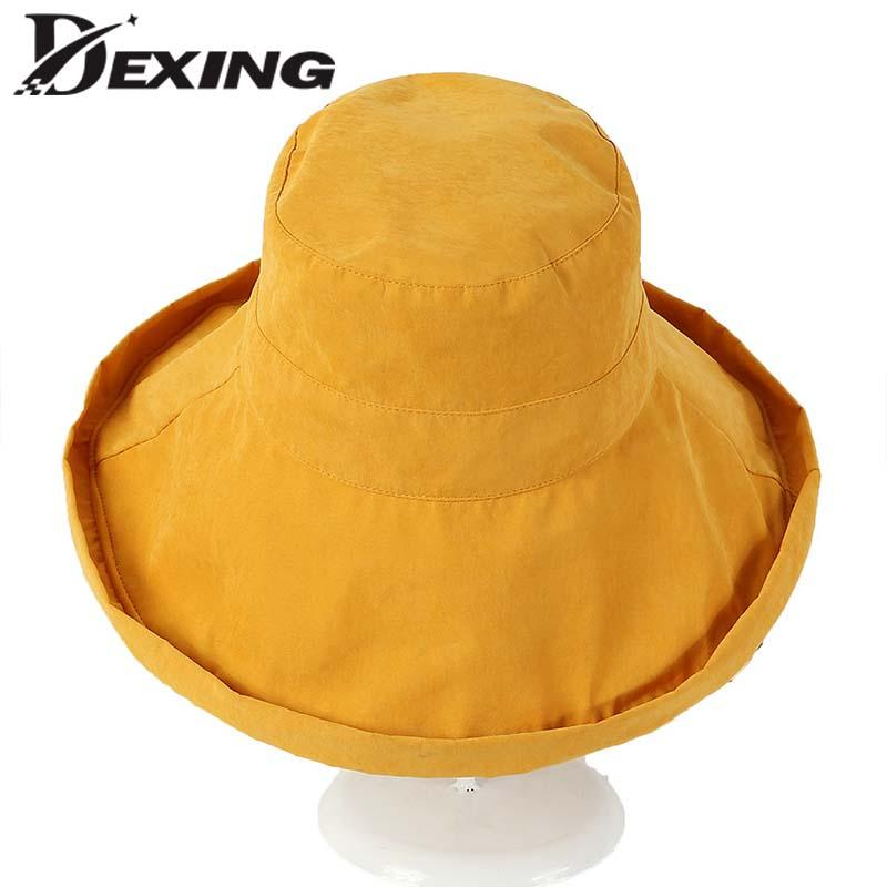 Womens Sun Hat Summer Reversible UPF 50+ Beach Hat Foldable Wide Brim  Fedora Hats Visor Hats From Heheda1 f37cacb527e1